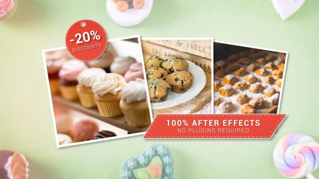 پروژه آماده افترافکت : تیزر تبلیغاتی شیرینی فروشی Bakery Slideshow 157635