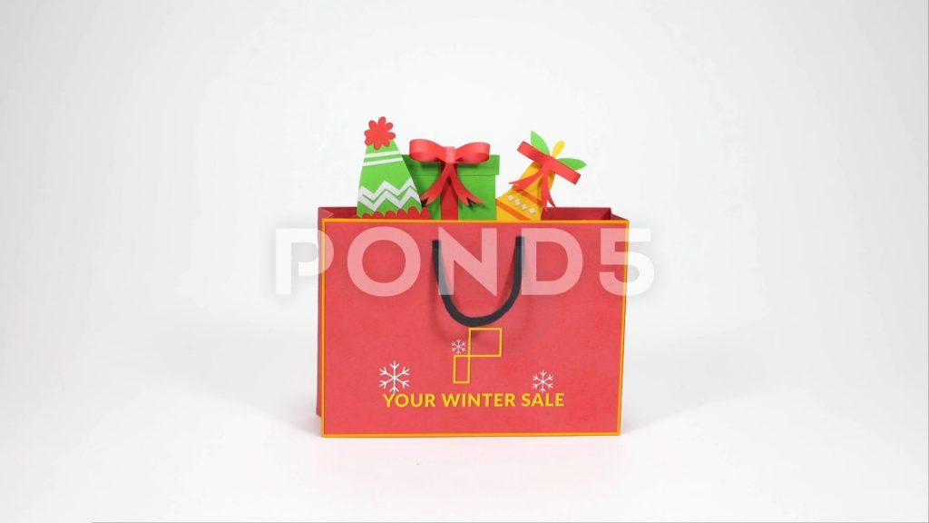 پروژه آماده افترافکت : تیزر تبلیغاتی استاپ موشن Christmas Shopping Bag 096681878