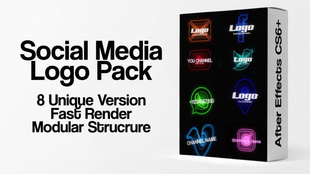 پروژه آماده افترافکت : لوگو شبکه های اجتماعی Social Media Logo Pack 198041